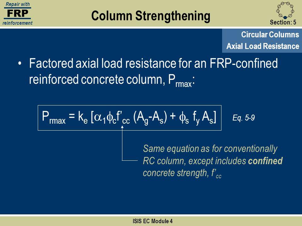 Prmax = ke [a1fcf'cc (Ag-As) + fs fy As]